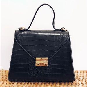 Handbags - Last 1✨🆕Estella Black Croc Top Handle Bag